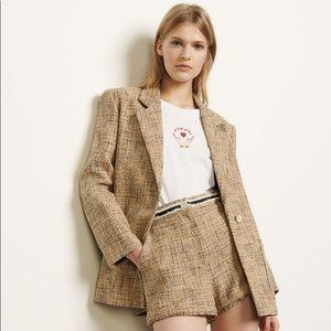 Sandro Sone single-breasted tweed tailored jacket